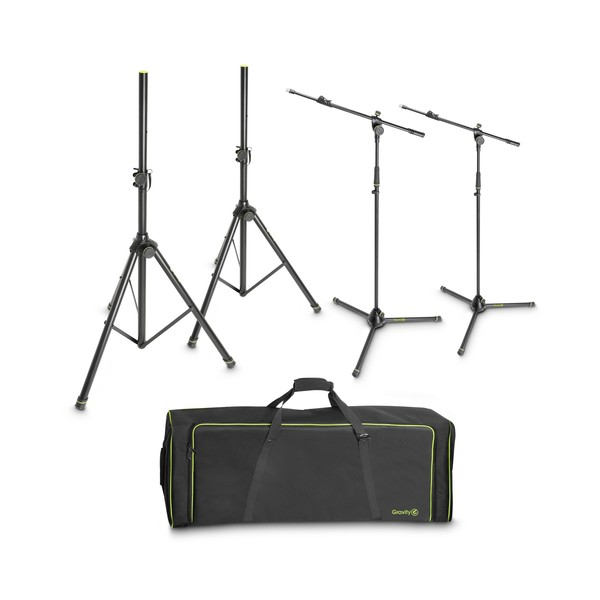 Gravity Stand Set With 2 Speaker and 2 Mic Stands in Transport Bag