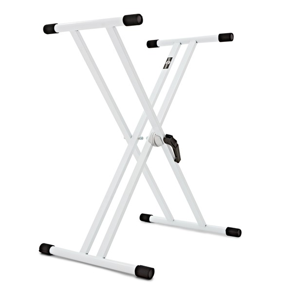 X-Frame Double Braced Keyboard Stand, White by Gear4music angle
