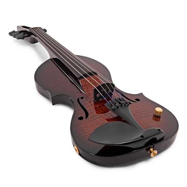 Wood Violins Nashville 5 String Electric Violin, Teak Tiger Maple angle