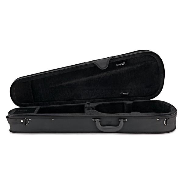 Wood Violins Nashville 5 String Electric Violin, Teak Tiger Maple case open