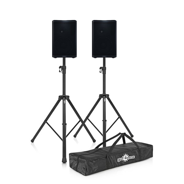 QSC CP8 8'' Active PA Speakers with Stands