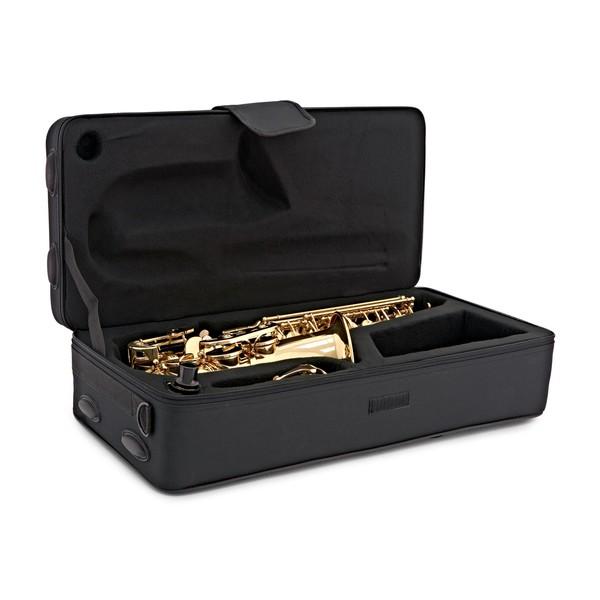 Alto Saxophone by Gear4music, Light Gold case open