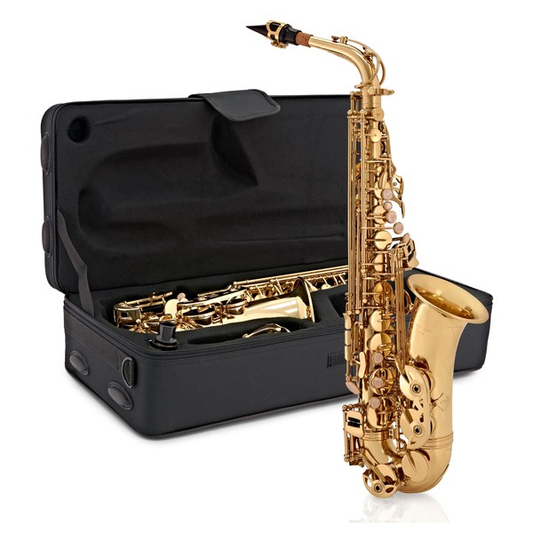 Alto Saxophone by Gear4music, Light Gold main front