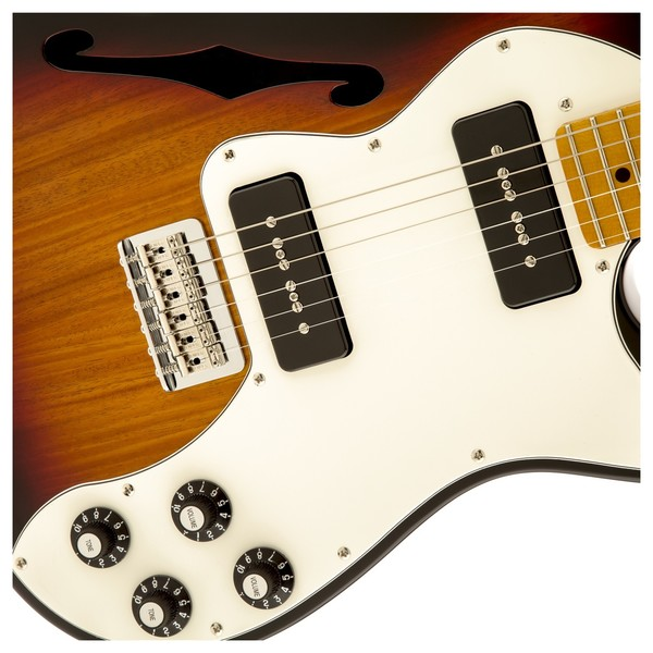 Fender Modern Player Telecaster Thinline Deluxe, 3 Colour Sunburst Close Up