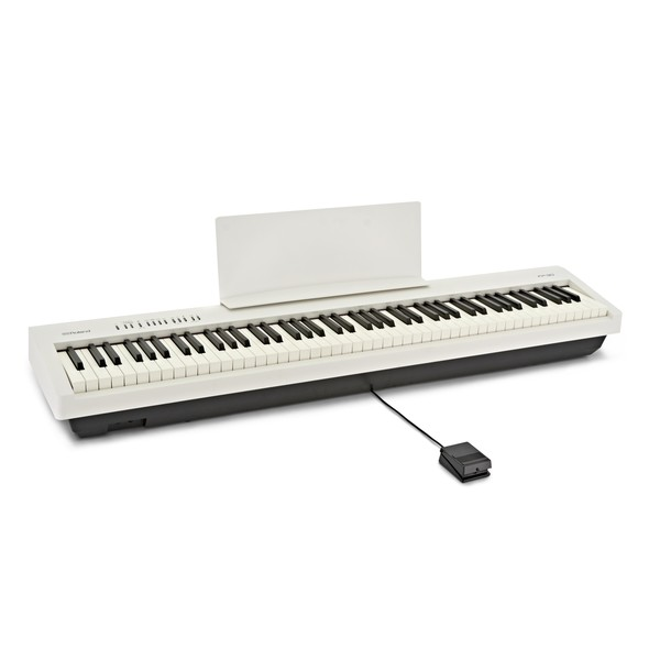 Roland FP 30 Digital Piano, White angle with pedal