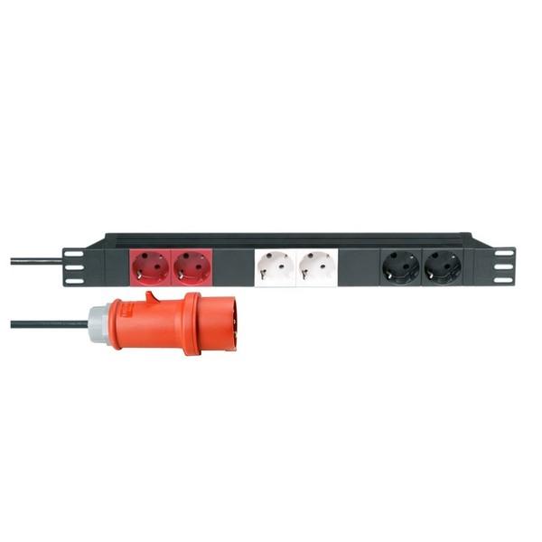 Adam Hall 19'' EU 3 Circuit 6 Socket Power Strip