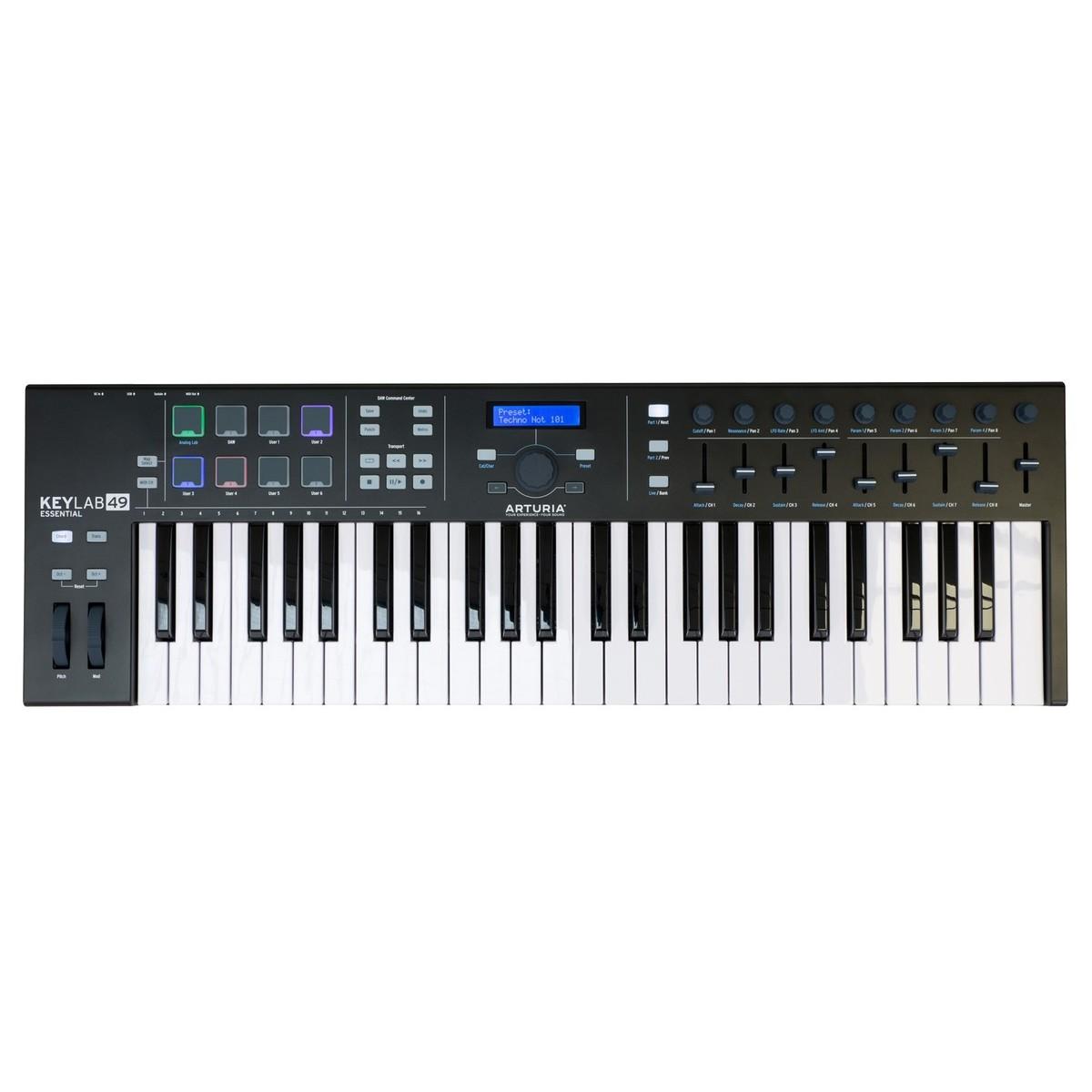 Arturia KeyLab Essential 49 MIDI Keyboard, Black - B-Stock