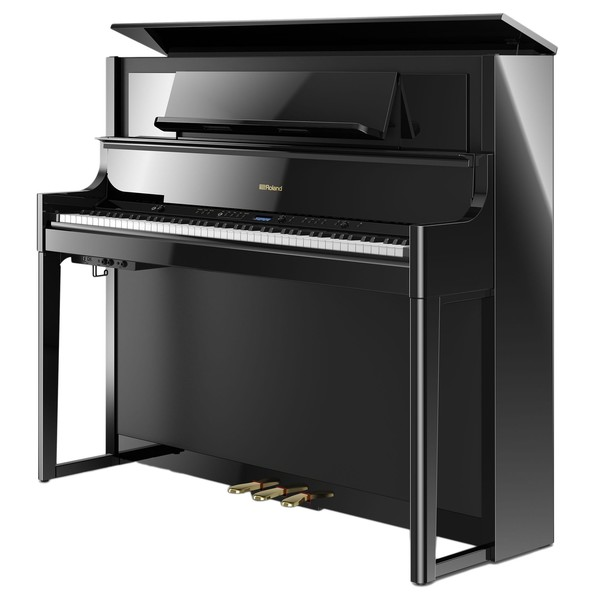 Roland LX708 Digital Piano, Polished Ebony, Lid Open