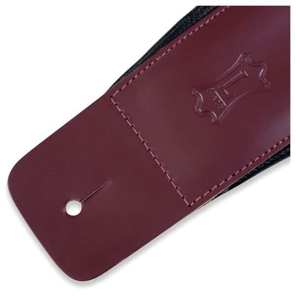 Levys DM1 Padded Leather Strap, Burgundy End