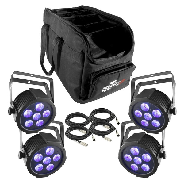 Chauvet SlimPAR H6 USB LED Par Can, Four Pack with Bag and Cables, Full Package