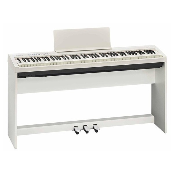 Roland FP 30 Digital Piano with Stand and Pedals, White