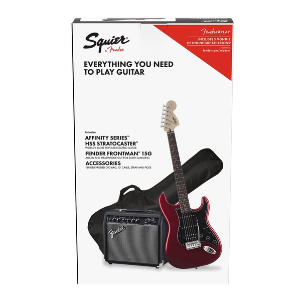 Squier Affinity Stratocaster HSS Pack, Candy Apple Red - Box