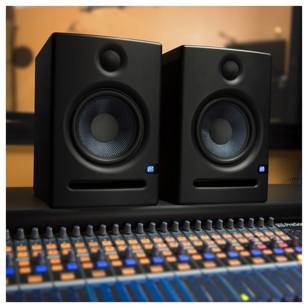 PreSonus Eris E5 Active Studio Monitors, with Stands - Lifestyle 1