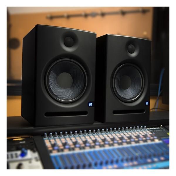 PreSonus Eris E8 Active Studio Monitor Pair With Stands - Lifestyle