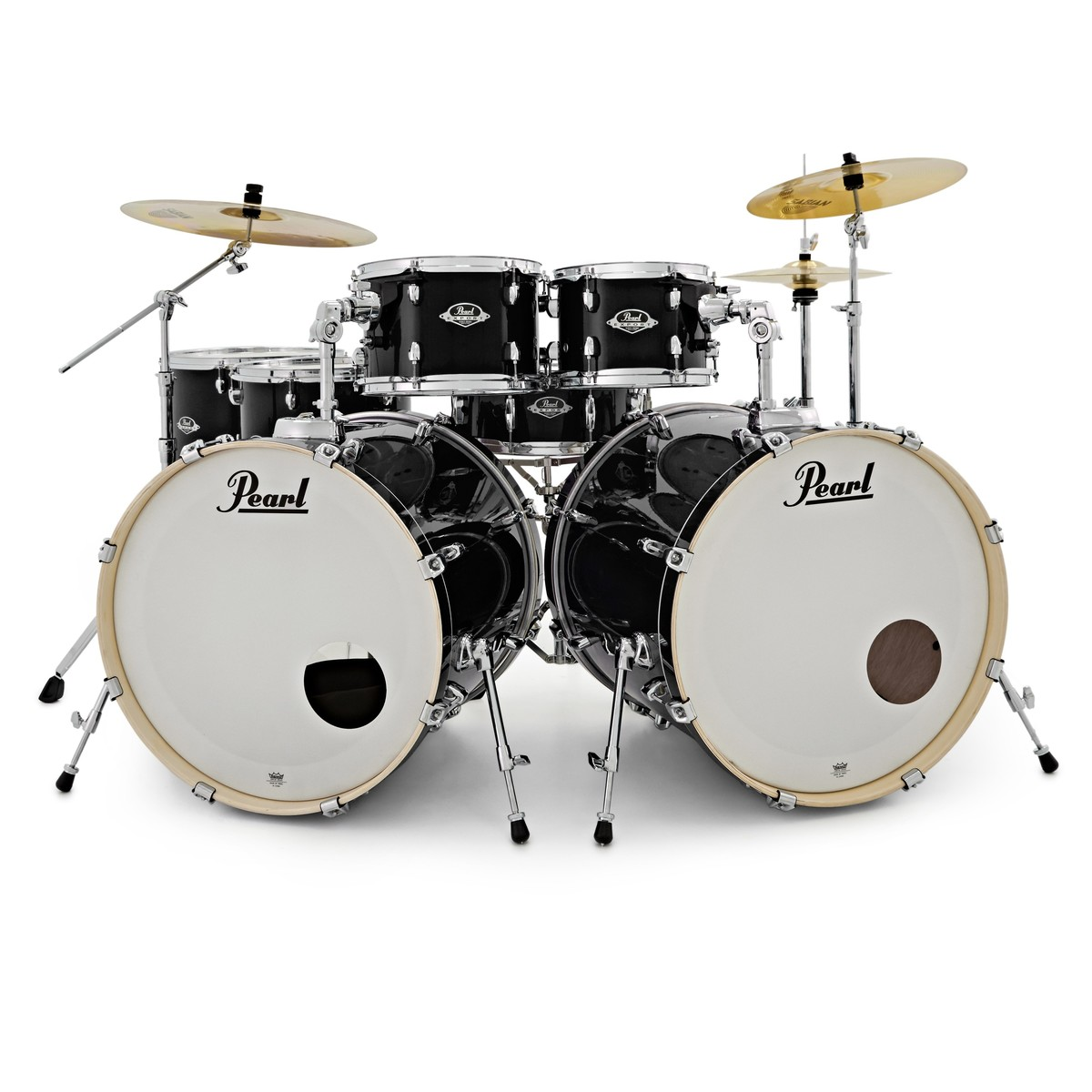 pearl exx export 7pc double bass drum kit jet black at gear4music. Black Bedroom Furniture Sets. Home Design Ideas