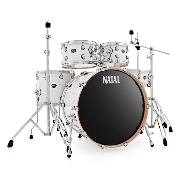 """Natal Arcadia Birch 5pc 22"""" Drum Kit, Gloss White - Main Image"""