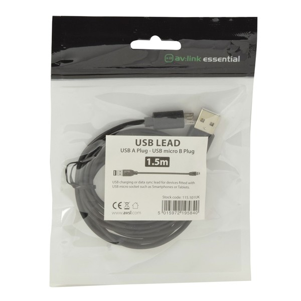 AVSL Essential USB 2.0 Cable, 1.5m - package