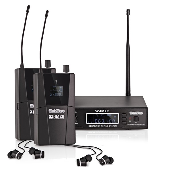 SubZero SZ-IM2 Stereo In Ear Monitoring System Pack, 2 Receivers