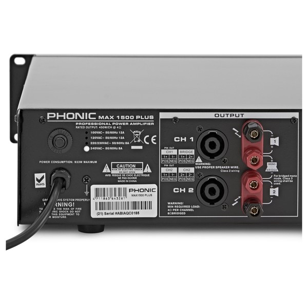 Phonic Max 1500 Plus Power Amplifier back