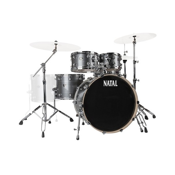 "Natal Arcadia Birch 5pc 22"" Drum Kit, Grey Strata - Main Image"