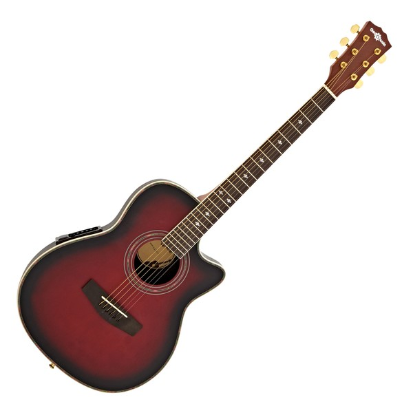 Roundback Electro Acoustic Guitar by Gear4music, Red Burst main