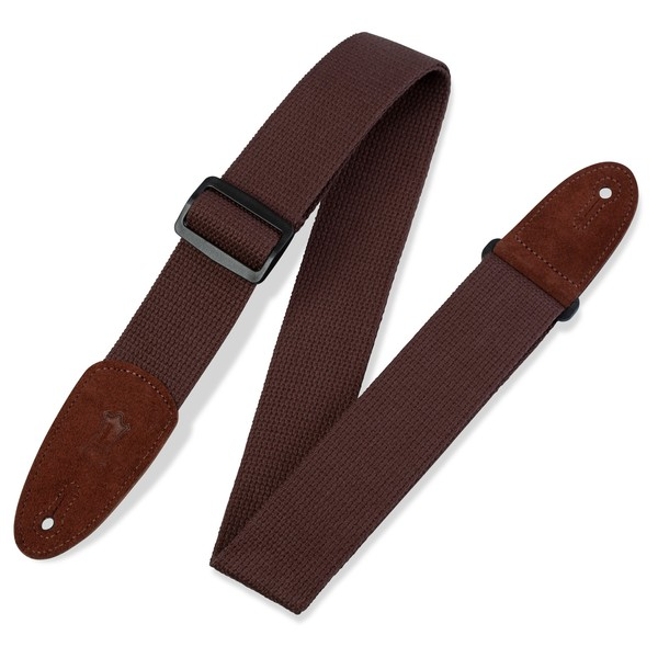 """Levys 2"""" Cotton Guitar Strap w/ Leather Ends, Brown"""