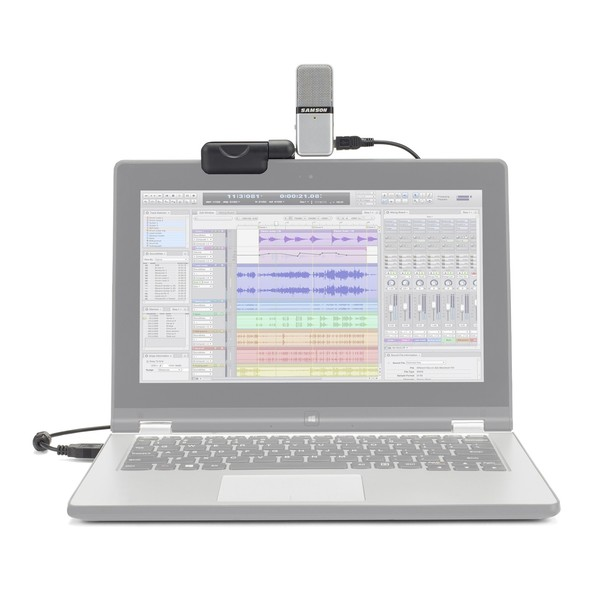 Samson Go Mic, Portable USB Condenser Microphone - Attached to Laptop