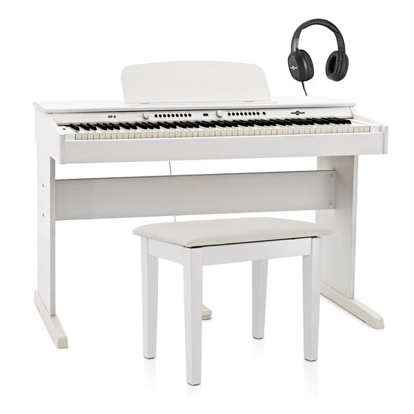 DP-6 Digital Piano Bench Pack by Gear4music, White
