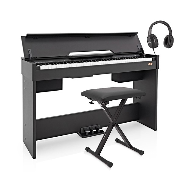 DP-7 Compact Digital Piano by Gear4music + Accessory Pack, Black