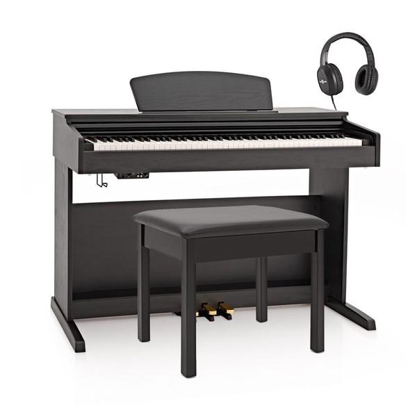 DP-10X Digital Piano by Gear4music + Piano Stool Pack, Matte Black