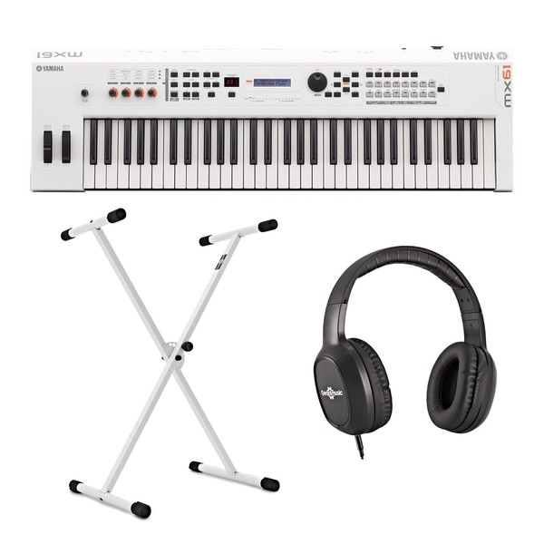 Yamaha MX61 II with Stand and Headphones, White - Main