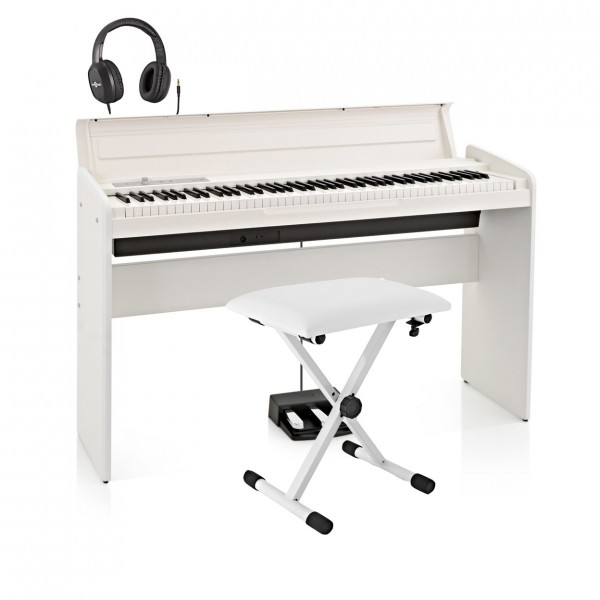 Korg LP-180 Digital Piano, White with Stool + Headphones - Main