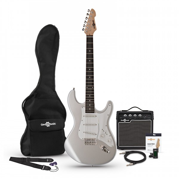 LA Electric Guitar + Amp Pack, Silver
