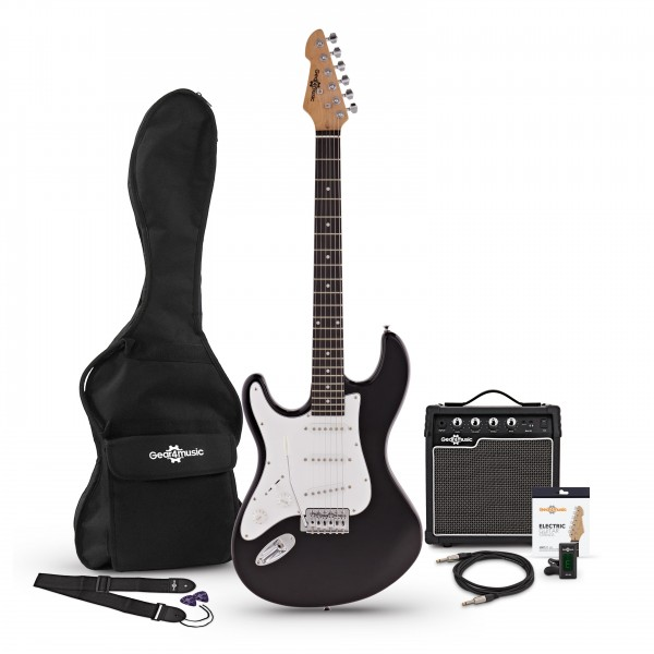 LA Left Handed Electric Guitar + Amp Pack, Black