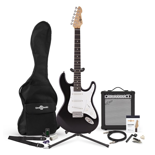 LA Electric Guitar + 35W Complete Amp Pack, Black