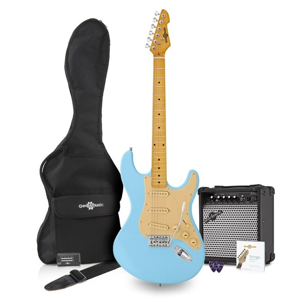 LA II Electric Guitar SSS + Amp Pack, Pelham Blue