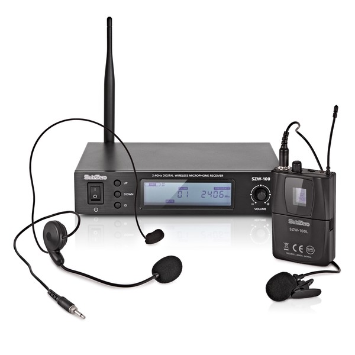 SubZero SZW-100L Digital Wireless Lavalier and Headset Mic System