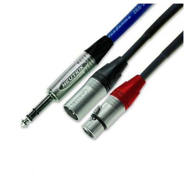Van Damme 0.82 Blue Series Stereo Jack - Twin XLR(M and F) Cable, 3m