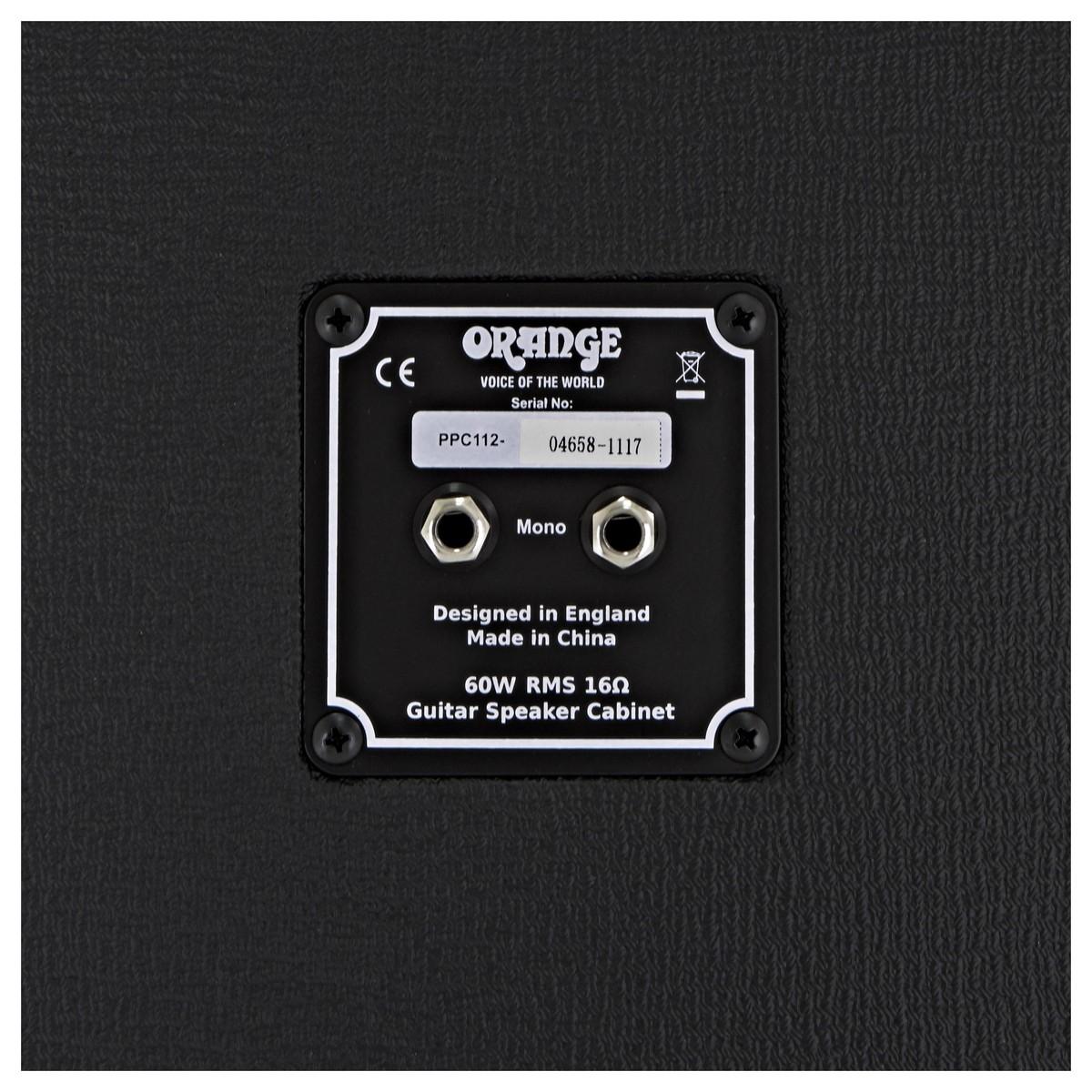 Orange Ppc112 1 X 12 Closed Back Cabinet Schwarz Gear4music