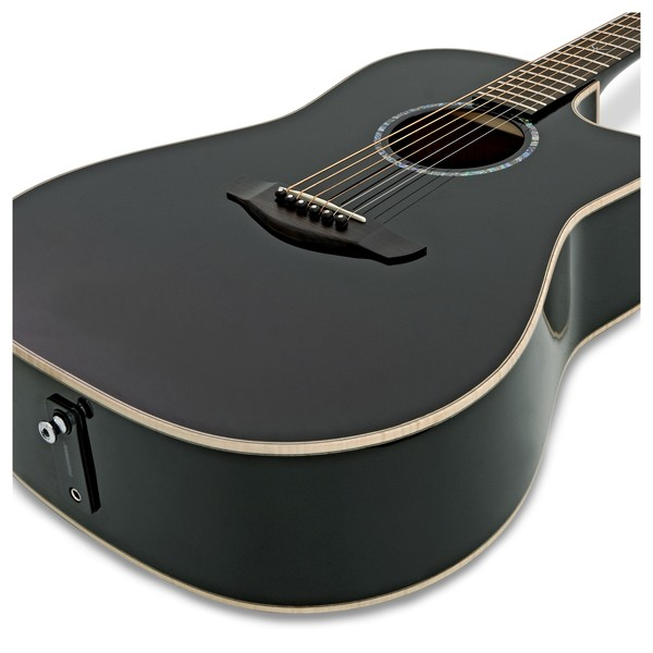 Faith Eclipse Saturn Dreadnought Electro Acoustic, Black Gloss close