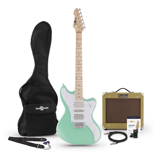 Seattle Electric Guitar and SubZero V35RG Amp Pack, Seafoam Green Pack