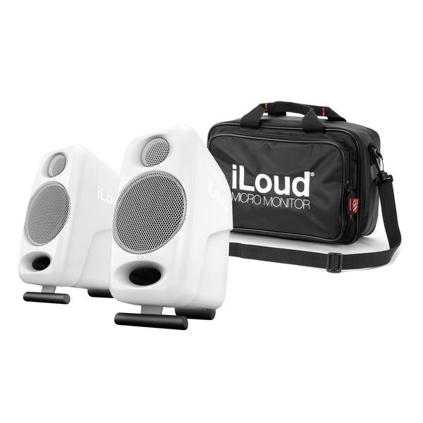 IK Multimedia iLoud Micro Monitors, White with Travel Bag - Full Bundle