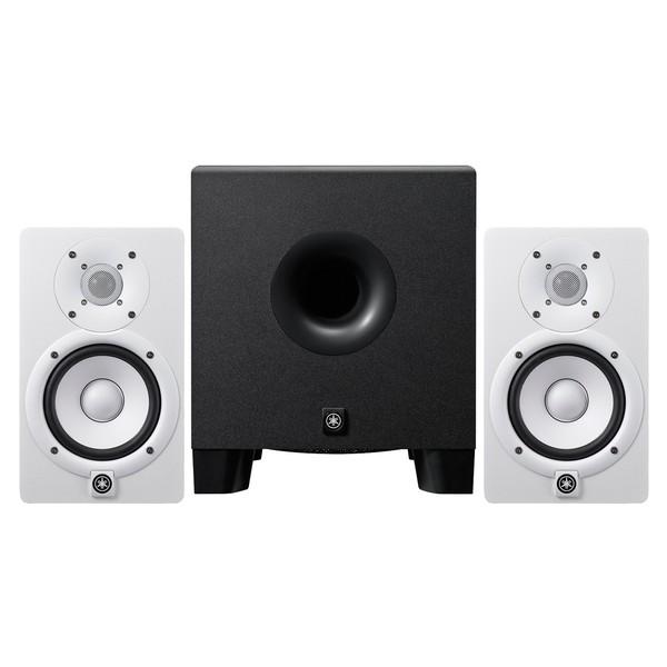 Yamaha HS5 Active Studio Monitors, White with HS8 Powered Subwoofer - Full Bundle