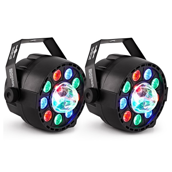 Sol 12W Mini Par Party Lights With Crystal Ball by Gear4music, Pair