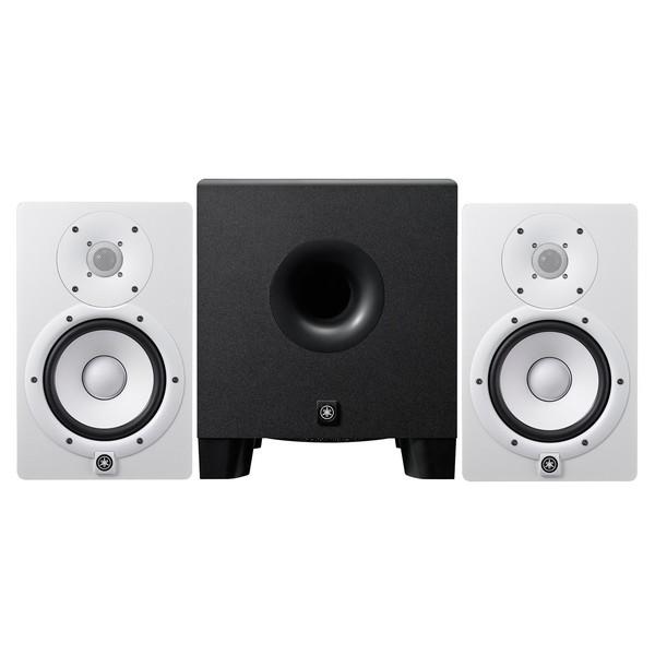 Yamaha HS7 Active Studio Monitors, White with HS8 Powered Subwoofer - Full Bundle