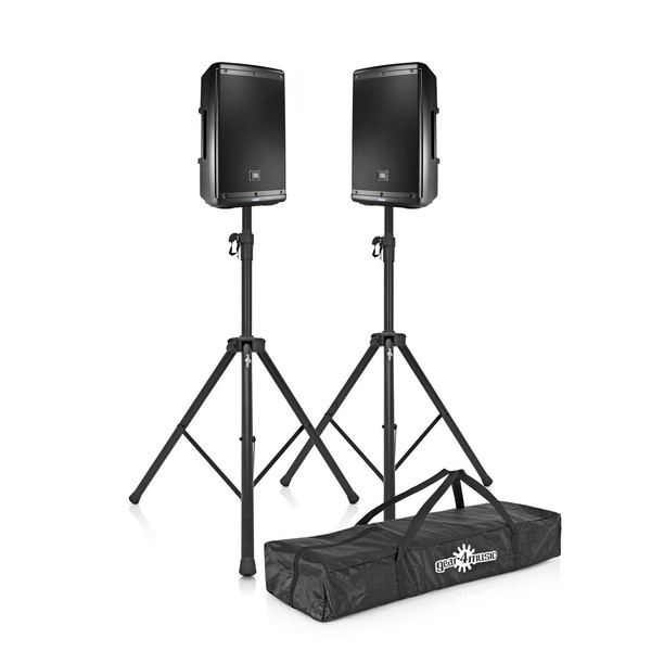 JBL EON610 10'' Active PA Speaker Bundle with Stands, Full Package