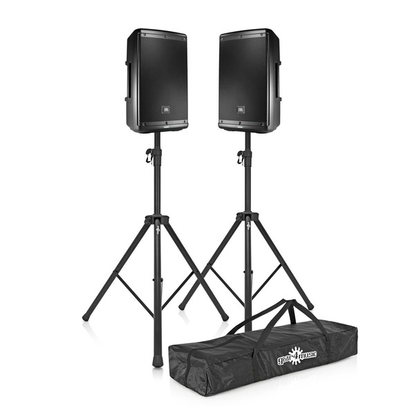 JBL EON612 12'' Active PA Speaker Bundle with Free Stands, Full Package