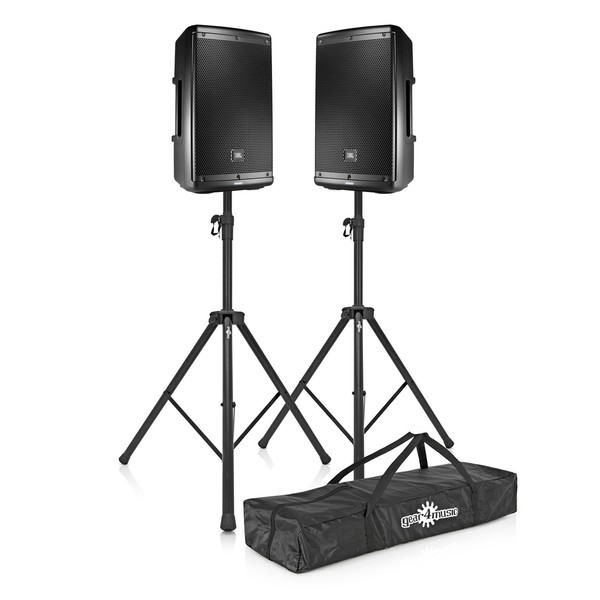 JBL EON615 15'' Active PA Speaker Bundle with Stands, Full Package
