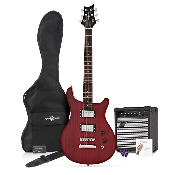 Pasadena Electric Guitar by Gear4music + 15W Amp Pack, Trans Red