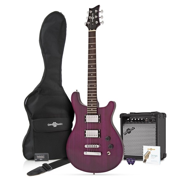 Pasadena Electric Guitar by Gear4music + Complete Pack, Trans Purple